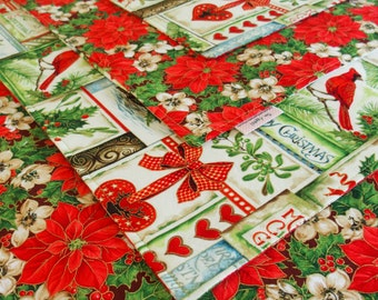 Red and Green Christmas Placemats (6) with Cardinals, Holly, Poinsettia, Gold Metallic Accents, Happy Christmas, Holiday Table Decor
