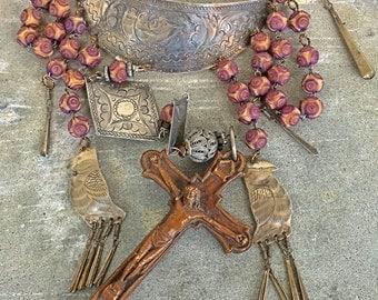Birds of faith assemblage huge cross tribal birds castles statement necklace