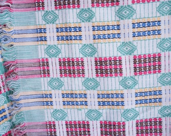 Vintage Tablecloth Guatemalan Fabric Woven Table Cloth Rainbow Linen Mexican Tablecloth Housewares Vintage Home Decor