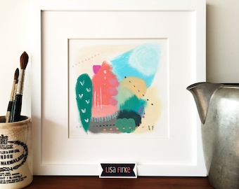 Colorful abstract landscape art print