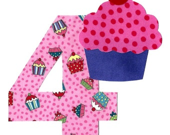 DIY birthday cupcake applique and pick any number iron on applique - birthday number
