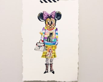 Minnie Mouse in Gucci fashion original painting - fashion art - disneyland - Mickey Mouse art - Hollywood