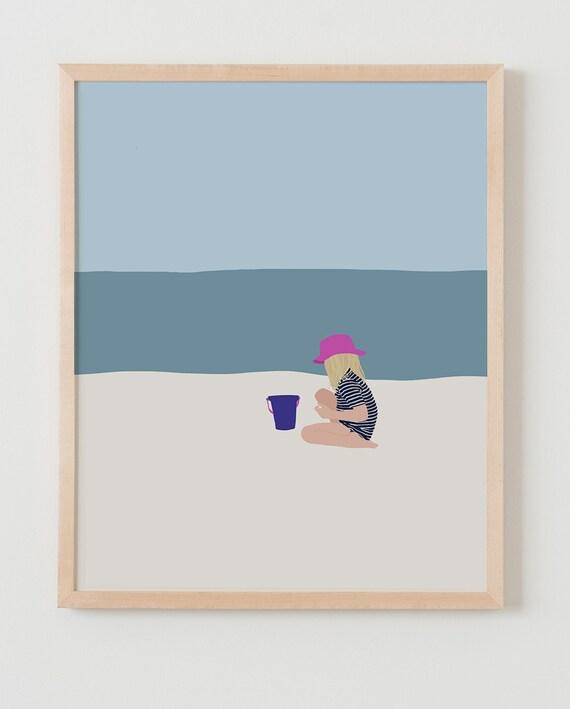 Fine Art Print.  Girl Sitting at Beach.  June 18, 2013.