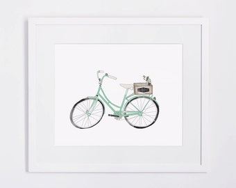 Vintage Bicycle Illustrated Print A3