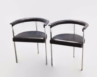 Pair Danish Modern Steel Three Legged Chairs, Poul Kjaerholm Style Armchair, Black Stainless