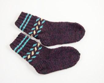 Knitted Wool Socks - Dark Red, Size Medium