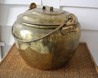 Vintage brass pail, brass bucket, primitive brass bucket, coal bucket