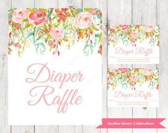 Diaper Raffle Ticket and Sign | Printable Floral Baby Shower Game | Baby Sprinkle Diaper Raffle Instant Download