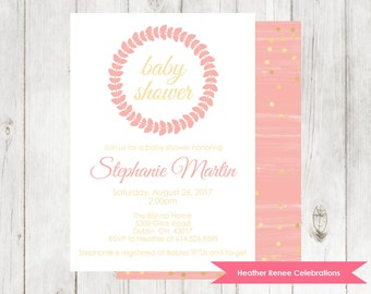 Modern Baby Shower Invitation | Pink with Gold Glitter | Printable Baby Shower and Sprinkle Invite