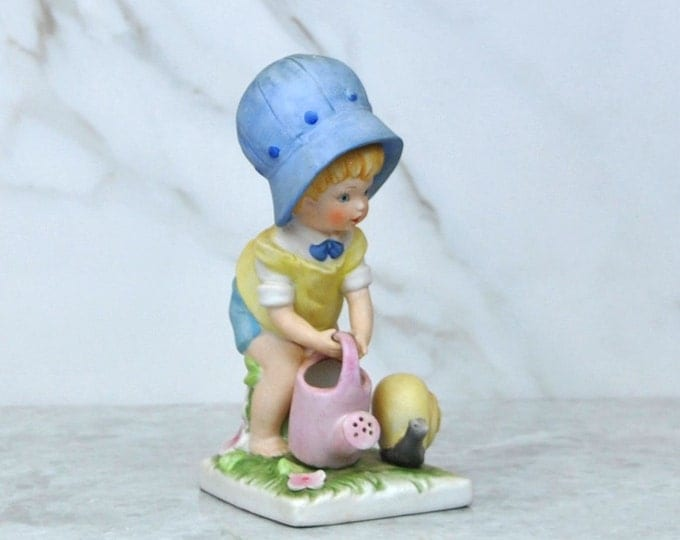 Vintage Seymour Mann Bisque Porcelain Loveables Figurine, Girl In Her Garden Watering Plants, Snail, Ceramic Figurine, Luv-17, Summer