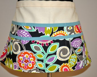 Utility Apron, Teacher apron, Gardening apron, Craft fair apron, Brightly colored apron, Women's Vendor Apron,  Bright Modern Floral Apron