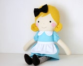 MADE TO ORDER. Alice in Wonderland rag doll. Nursery decor doll. Fabric doll to decorate and play. Alice art doll. Rag doll Alice.