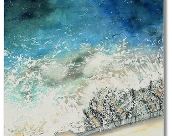 knitted frothy seascape watercolor print