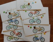 Bike Card - Set of 10 Bicycle Thank You Note Greeting cards with 3-D bicycle embellishment