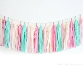 Mint Green, Pink, Cream Tissue Paper Tassel Garland- Wedding, Birthday, Bridal Shower, Baby Shower, Garden Party Decorations
