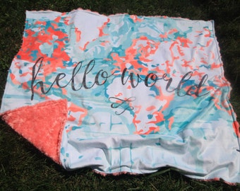 Coral Pink Baby Girl Blanket - Baby Girl MINKY Blanket, Minky Baby Blanket, Hello World Baby Blanket, Personalized Girl Baby Blanket Pink