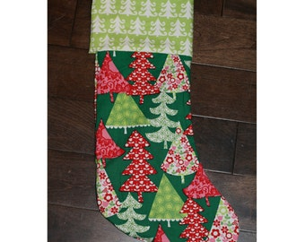 Christmas Stocking - Personalized Stocking - Fully Lined Cotton Stocking - Green/Red/Pink Christmas Trees