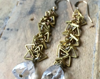 Trillion rock crystal faceted clear quartz and brass triangle chain earrings