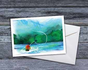 Fly Fishing - Somewhere Downstream Greeting Card