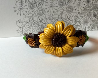 Love Flower leather hairband