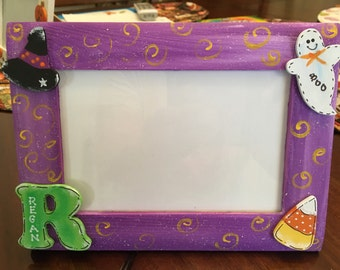 HALLOWEEN PICTURE FRAME Personalized  Child Initial Any Name Fall Decor Baby Kids Trick or Treat Candy corn Ghost witch's hat