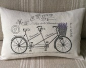 "French Pillow Cover - Tandem Bicycle - French Country Pillow Cover - Shabby Chic Pillow Cover - French Cotton Pillow Cover - 12"" x 18"""