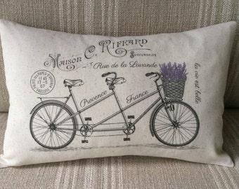 "French Pillow Cover - Tandem Bicycle - French Country Pillow Cover - Shabby Chic Pillow Cover - French Vintage Cotton Pillow - 12"" x 18"""