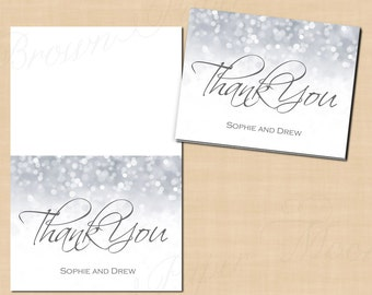 Silver Shimmer Thank You Cards (Fold to 5.5x4.25): Text-Editable in Microsoft® Word, Printable Instant Download