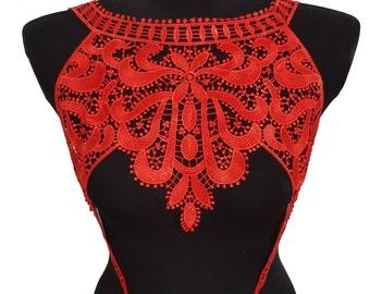 Red Lace Necklace Collar, Venice Lace Crochet Yoke Collar, Dress Embellishment Applique
