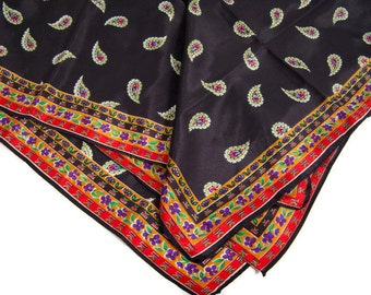 Vintage Silk Scarf Paisley Design Black and Floral Scarves Floral Wrap Square Scarf Hand Rolled Edge