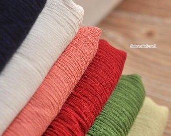 Solid Poplin Fabric,Creases Texture Pure Flax Linen Spring Summer Fabric Bag Clothing Fabric, Cotton Fabric - 1/2 yard (QT898)