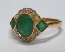 Rose Gold Emerald & Opal Ring, 9ct 9k 14K 18ct 18K Solid Gold, Victorian Opal Ring, Antique Women's Emerald Ring, Vintage, Custom, R4