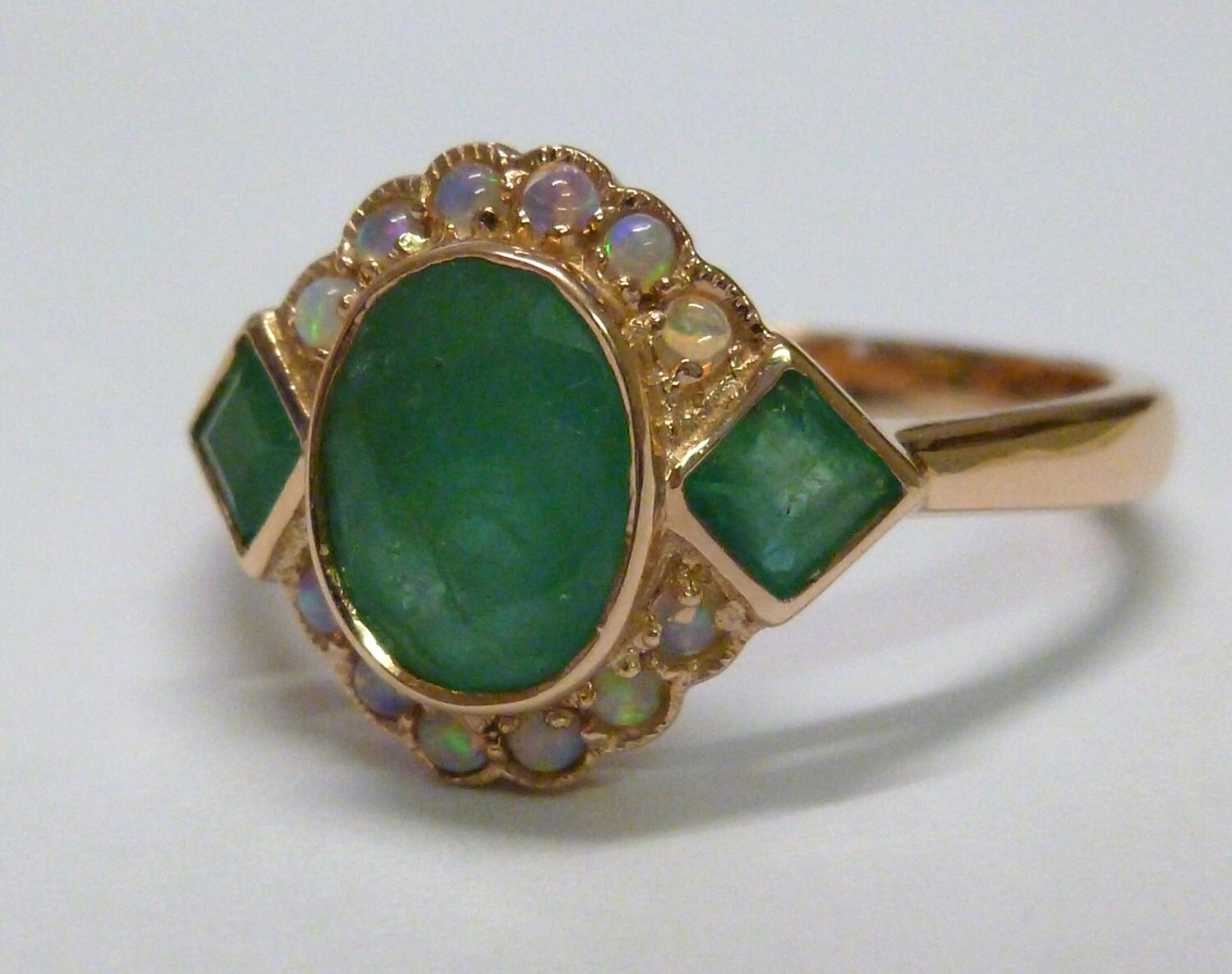 gold emerald opal ring 9ct 9k 14k 18ct 18k solid gold