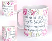 Jane Austen Mug, Persuasion Book Mug, Floral Design, Captain Wentworth's Letter, and Half agony, half hope, Quote, UK