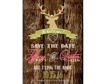 The Hunt Is Over Rustic Floral Deer Antler  Invitation Template 5x7 PRINTABLE-instant download