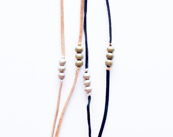 Leather and Metal Lariat / Wrap