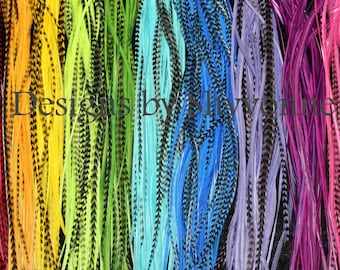 Bulk 50 Premium Dyed Hair Feathers Extensions Make Your Own Bundles Kit Lot
