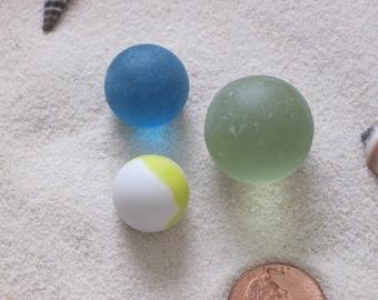 Three Lake Erie Beach Glass Marbles