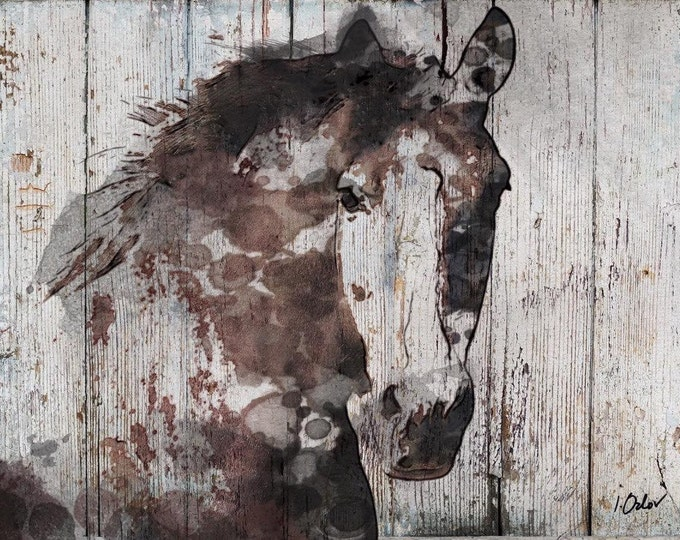 "Wild Horse. Extra Large Horse, Unique Horse Wall Decor, Brown Rustic Horse, Large Contemporary Canvas Art Print up to 72"" by Irena Orlov"