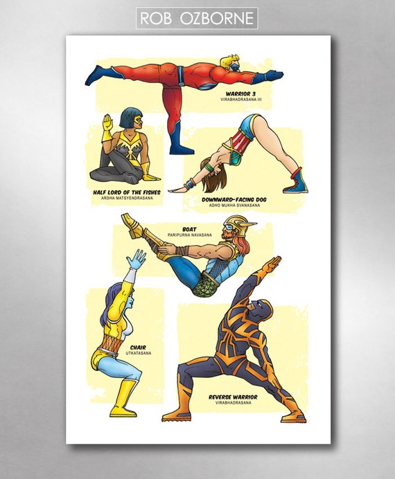 SUPERHERO YOGA Super Pop Art Print 11x17 by Rob Ozborne