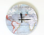 Sale, Unique Wall Clock, Map Clock, Etsy Wall Art, Etsy Art, Home and Living, Faux Wood Clock,  Decor & Housewares, Living Room Decor, Uniqu