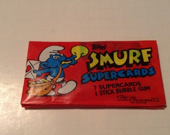 smurf trading card unopened pack of 7 cards from 1982
