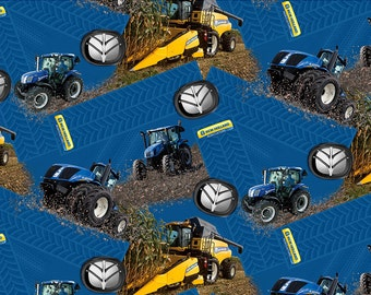 New Holland Tractor and Combine Fabric, cotton