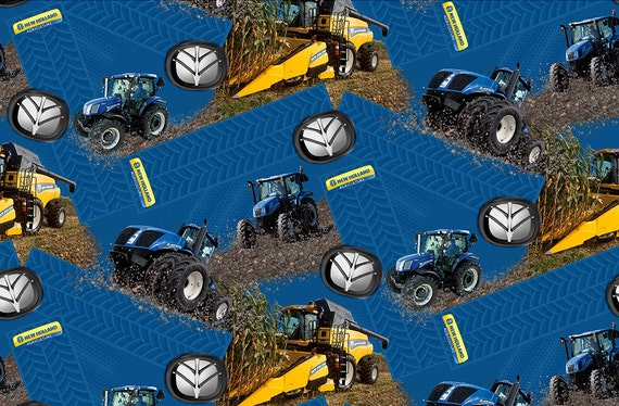 New Holland Tractor Fabric : New holland tractor and combine fabric cotton