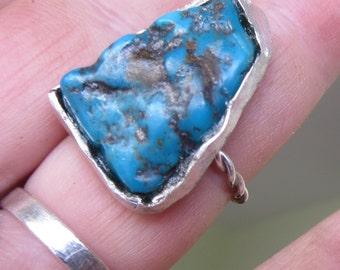 Silver Natural Turquoise RING - Product Of West Bank - Nugget Turquoise ring
