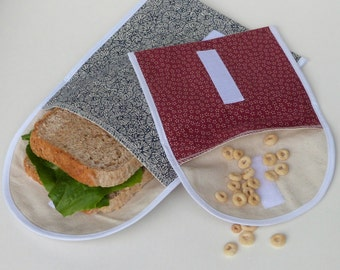 Organic Sandwich Bags, Two Reusable Snack Bags, Eco Lunch Bag, 100% Cotton