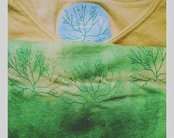 Algae Dyed and Coffee Dyed Long Sleeve Shirt Handprinted with Algae Design