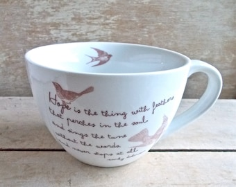 Hope Is The Thing With Feathers, Inspirational Quote Coffee Cup, Bird Cage, Emily Dickinson Tea Mug, Birds Poem, Flying Ready to Ship
