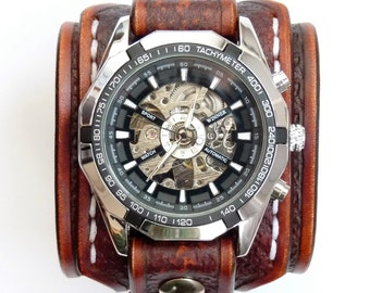 Leather Cuff Watch, Vintage Brown Leather Cuff
