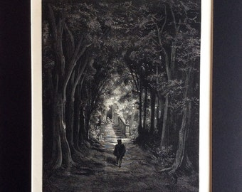 1870 FAIRY REALM Antique  Engraving Gustave Doré 1st Edition Fable Nursery Fairy